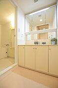 洗面台の鏡は三面鏡ですので、身だしなみチェックに便利です。収納も豊富です。