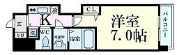 Osaka Metro谷町線 谷町四丁目駅 徒歩7分の賃貸マンション 6階1Kの間取り