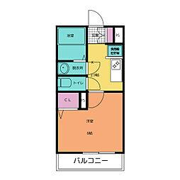 モンレーヴ清川 1階1Kの間取り