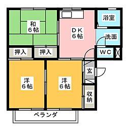 新富士ハイツA[2階]の間取り