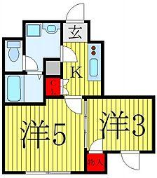 都営三田線 蓮根駅 徒歩10分の賃貸マンション 1階2Kの間取り