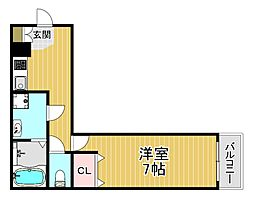 ALEGRIA姫島 1階1Kの間取り
