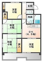愛知県名古屋市天白区向が丘1丁目の賃貸マンションの間取り