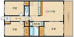 大阪府松原市阿保2丁目の賃貸アパートの間取り