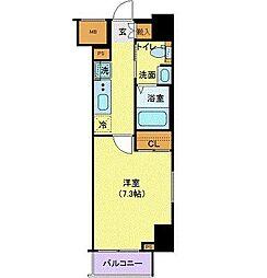 東急東横線 都立大学駅 徒歩13分の賃貸マンション 2階1Kの間取り