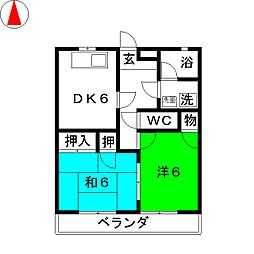 コーポハイアット[1階]の間取り