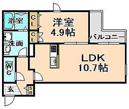 兵庫県伊丹市大鹿5丁目の賃貸マンションの間取り