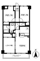 むさしのサンケイマンション[3階]の間取り