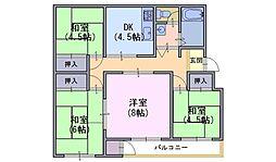 長岡天神ハイツ 6棟304号[3階]の間取り