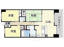 Osaka Metro谷町線 都島駅 徒歩24分の賃貸マンション 7階3LDKの間取り