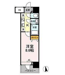 東京メトロ南北線 麻布十番駅 徒歩1分の賃貸マンション 5階1Kの間取り