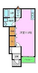 サンクエトワール上野芝 1階ワンルームの間取り