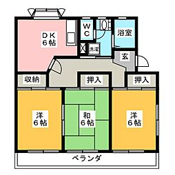 衣浦マンション C棟[3階]の間取り