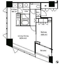 JR山手線 目黒駅 徒歩5分の賃貸マンション 4階1LDKの間取り