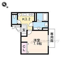 京阪本線 墨染駅 徒歩3分の賃貸アパート 1階1Kの間取り