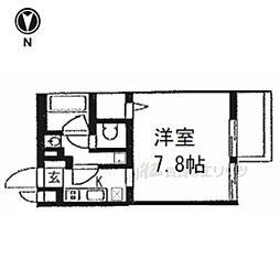 京都市営烏丸線 今出川駅 徒歩18分の賃貸マンション 4階1Kの間取り