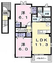 静岡県御殿場市東田中の賃貸アパートの間取り