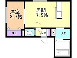 Comfort 3階1DKの間取り