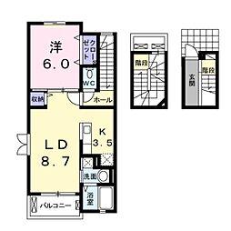 神奈川県川崎市麻生区王禅寺西4丁目の賃貸アパートの間取り