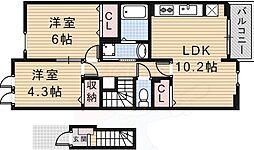 JR東海道・山陽本線 JR総持寺駅 徒歩30分の賃貸アパート 2階2LDKの間取り