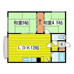 北海道札幌市東区北十八条東14丁目の賃貸アパートの間取り