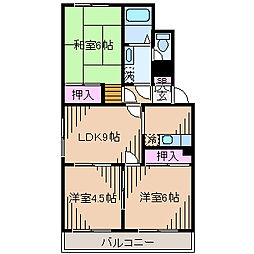 神奈川県横浜市港北区綱島東2丁目の賃貸マンションの間取り