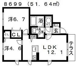 Sha Maison Relafort(シャーメゾンリラフォート)[A101号室号室]の間取り