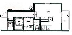 JR津山線 法界院駅 徒歩11分の賃貸アパート 3階ワンルームの間取り