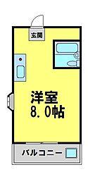 アジュールマンション 4階1Kの間取り