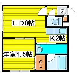 北海道札幌市東区北二十五条東13丁目の賃貸アパートの間取り