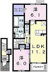 JR宇野線 彦崎駅 徒歩10分の賃貸アパート 2階2LDKの間取り