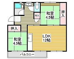 浅香山住宅5棟[5階]の間取り