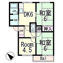 滋賀県栗東市綣6丁目の賃貸アパートの間取り