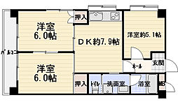 崗本マンション[3階]の間取り