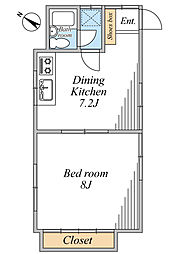 三枝貸家(一部)[1号室号室]の間取り