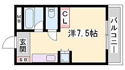 JR姫新線 播磨高岡駅 3.8kmの賃貸アパート 1階ワンルームの間取り