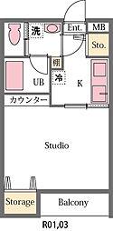 埼玉県東松山市美土里町の賃貸アパートの間取り