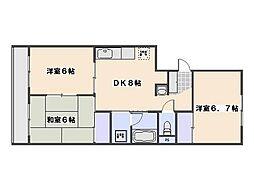 JR山陽本線 五日市駅 徒歩11分の賃貸マンション 3階3DKの間取り