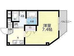 阪急宝塚本線 石橋阪大前駅 徒歩5分の賃貸マンション 3階1Kの間取り