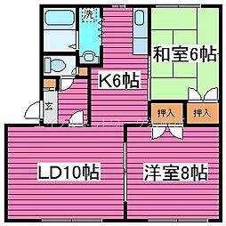 北海道札幌市東区北三十四条東9丁目の賃貸アパートの間取り