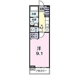 南海線 尾崎駅 徒歩4分の賃貸アパート 2階1Kの間取り