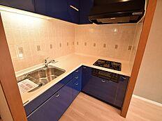 L字型のキッチンは移動が少なく効率的にお料理ができます。ブルーという色もスタイリッシュです。ワークトップ(作業台)が広いので使いやすそうです。