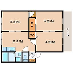 静岡県藤枝市音羽町6丁目の賃貸アパートの間取り