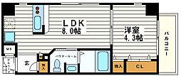 大阪府大阪市中央区北久宝寺町2丁目の賃貸マンションの間取り