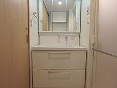シャワー・三面鏡付きの洗面台