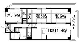 サンライズ(上池田)[3階]の間取り