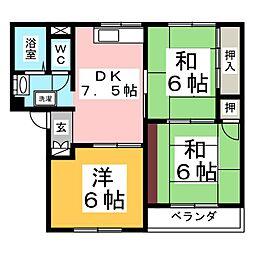 ロイヤルハウス八乙女A[1階]の間取り