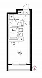 東京メトロ東西線 木場駅 徒歩6分の賃貸マンション 4階ワンルームの間取り