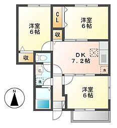 アメニティ鶴田A[1階]の間取り