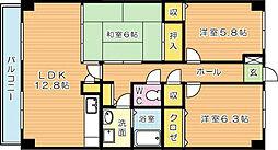 アーバンライフ折尾(特定優良賃貸)[7階]の間取り